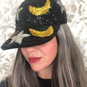 Rare Vtg Sequin Moon & Star Hat